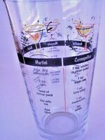 Vintage Cocktail Barware Mixing Measuring Glass Drink Recipes Alcohol Liquor