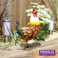 Primus Hand Crafted Farmyard Metal Hen Garden Bird Sculpture Gift Ornament