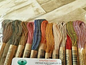 12x Valdani Floss Embroidery Thread Vintage Hues Collection 60ply 10 Yd Skein