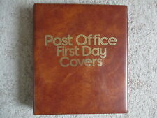 POST OFFICE FIRST DAY COVER ALBUM WITH 16 LEAVES FOR 62 COVERS, GOOD CONDITION
