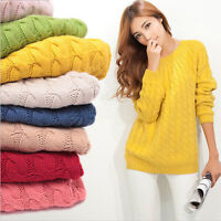 Women Long Sleeve Knitted Pullover Loose Sweater Knitwear Jumper Tops Casual A5