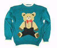 Heidi Womens S Vintage 1970s Hand Knit Teddy Bear Sweater Korea Green Ivory Knit