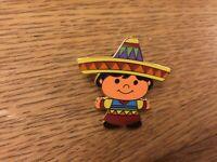 DISNEY IT'S A SMALL WORLD CHILD PIN MEXICO ORANGE FACE