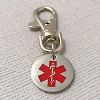 Life Saving Medical Alert ID Identity Steel Medal Pendant SOS Keyring Keychain