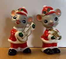 Vintage Napcoware Japan Christmas Mouse Mice Guitar Present Figurine Ceramic