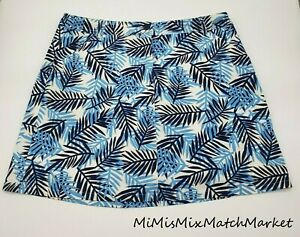 White Stag Womens Skort 12 Floral Palm Leaf Blue White Black with White Shorts