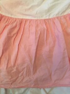 """POTTERY BARN KIDS Crib Dust Ruffle Bed Skirt SOLID PINK 100% Cotton Gathered 14"""""""