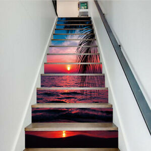 3D Tropical Sunset Landscape Self adhesive Staircase Sticker Stair Riser Sticker