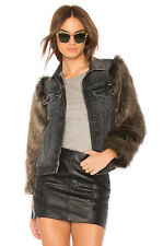 NWT $365 Mother Denim Armed & Ready Drifter Jean Jacket Faux Fur Sleeve sz XS