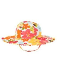GYMBOREE ALOHA SUNSHINE WHITE w/ FLOWERS SUN HAT 0 12 24 2T 3T 4T 5T NWT
