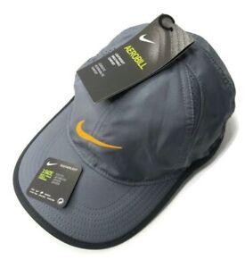 Nike Aerobill Featherlight Youth Hat Cap Grey / Black / Orange 739376-021 - New