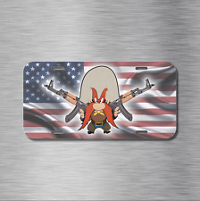 Yosemite Sam AK47 AK-47 Vehicle License Plate, Front Auto Tag American Flag NEW