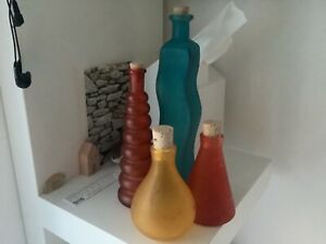 Job lot Of Coloured Blue Red Yellow Orange Glass Bottles With Corks. 4.