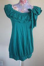elle green ruffle top XL