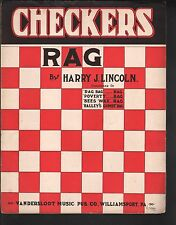 Checkers Rag 1913 Harry J Lincoln Large Format Sheet Music