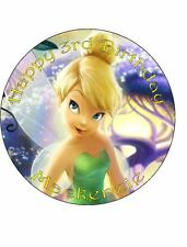 Tinkerbell 19cm Round Personalised Edible ICING Cake Topper