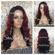 Red Black Ombre Body Wave Lace Front Wig Wavy Side Part Burgundy Heat Safe Ok