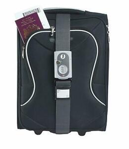 YALE COMBINATION LUGGAGE TRAVEL STRAP TSA STANDARD GREY WITH ID TAG