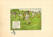 1905 laws of cricket  original colour print -  lost ball  !