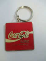 Coca-Cola Metal Enamel Red Square Coke Logo Keychain NOS Vintage 1992