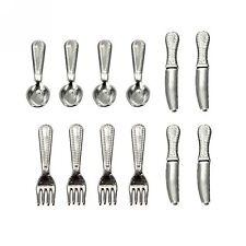 12pcs Dollhouse Miniature Stainless Steel Tableware Set 1:12 Fork Spoon HOT OP