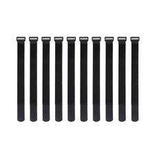 10x Black Self Adhesive Hook Loop Cable Ties Fastener Strap Cord Organizer 30cm
