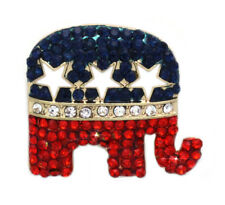 4th of July USA Flag GOP Republican Party Star Small Elephant Charm Brooch Pin