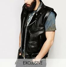 MENS SLEEVELESS JACKET WAISTCOAT LEATHER VEST ZARA BRANDO/TERMINATOR BIKER RETRO
