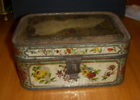 Vintage Floral Spice Box Tin Six Canisters