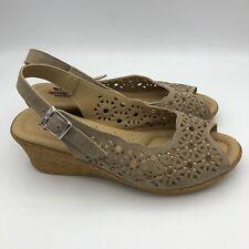 Spring Step Italy Beige Tan Suede 8 / 38 Peep Toe Slingback Wedge Sandals