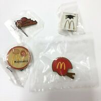 Set Of 4 Collectible McDonalds Pinback Lapel Pins Flair All Smiles Graduate