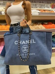Jumbo XL Chanel Deauville Blue Tote Bag