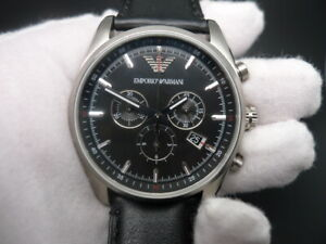 NEW OLD STOCK EMPORIO ARMANI AR6039 CHRONOGRAPH LEATHER STRAP QUARTZ MEN WATCH