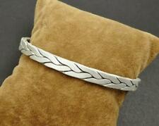 Twist Rope Open Bangle Cuff Bracelet Men Women 26G 6mm Sterling Silver Braided