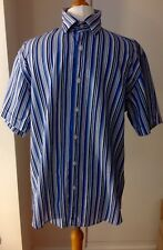 BEN SHERMAN ORIGINAL MEN'S BLUE/WHITE STRIPED, S/SLV SHIRT, LARGE, WORN ONCE