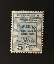 Arizona State Revenue Stamp - 5 lbs. light blue Fertilizer Tax #FT10 - MNH - AZ