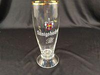 "Konigsbacher Pils 1689 Glass With Gold Rim 6-1/2"" Tall"