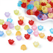 200pcs Tranparent Frosted Flower Acrylic Beads Tulip Bead Caps Colorful 10x9mm