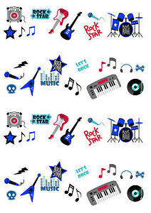 50 STAND UP Rock Star Music Boy Guitar Edible Wafer Paper CupCake Toppers