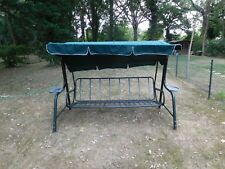 Garden Swing Seat With Canopy Green Metal Frame