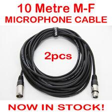 2x 10 Metre XLR QUALITY Male-Female M-F Microphone Mic Cable Lead Cord DMX 10M