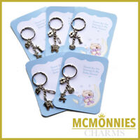 5 X BABY SHOWER KEYRING THANK YOU GIFT TAG BLUE BOY BABY SHOWER KEEPSAKE CHARMS