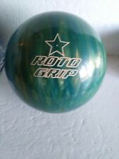 ROTO GRIP 15# SKY BLUE & GOLD SPARE POLYESTER BOWLING BALL--UNDRILLED