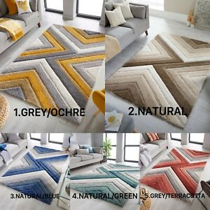 NEW ARRIVAL DUNE CRATOR GEOMETRIC SHAGGY RUG IN GREY OCHRE NATURAL BLUE GREEN