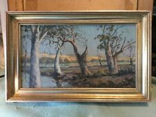 John Giles  Murray Gums Framed Oil Painting Near Manum South Australia