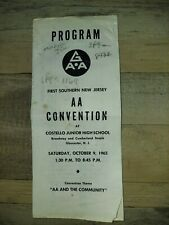 Alcoholics Anonymous Program from 1st Southern New Jersey Aa convention October