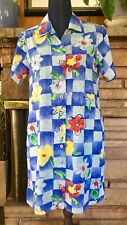 JAMS WORLD Vntg Collar & Button Down Dress Wm's SM Floral Checkerboard Shrt Slvs