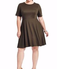 Mbn Stretch Jersey Amelie Fit And Flare Dress In Olive Size 2X