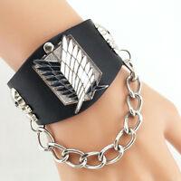 Fashion Men Boy Punk Rock Giant Link Chain Leather Cuff Bracelet Bangle Gothic