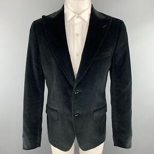 DOLCE & GABBANA Size 38 / IT 48 Black Cotton Velvet Peak Lapel Sport Coat Jacket